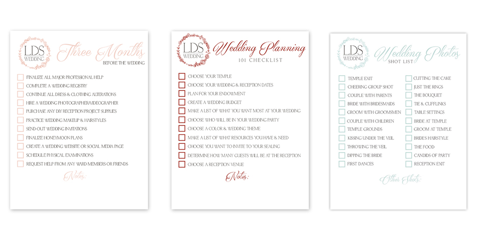 FREE LDS Wedding Checklists