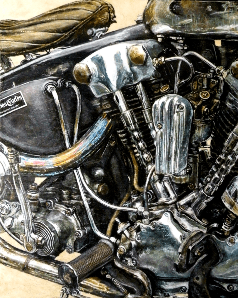 Acrylic on panel original painting titled 1938 EL Knucklehead, Wabi-Sabi 09 by Lyndell Dean Wolff