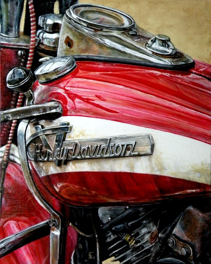 Acrylic on panel original painting titled 1955 FLH Panhead, Wabi-Sabi 08 by Lyndell Dean Wolff