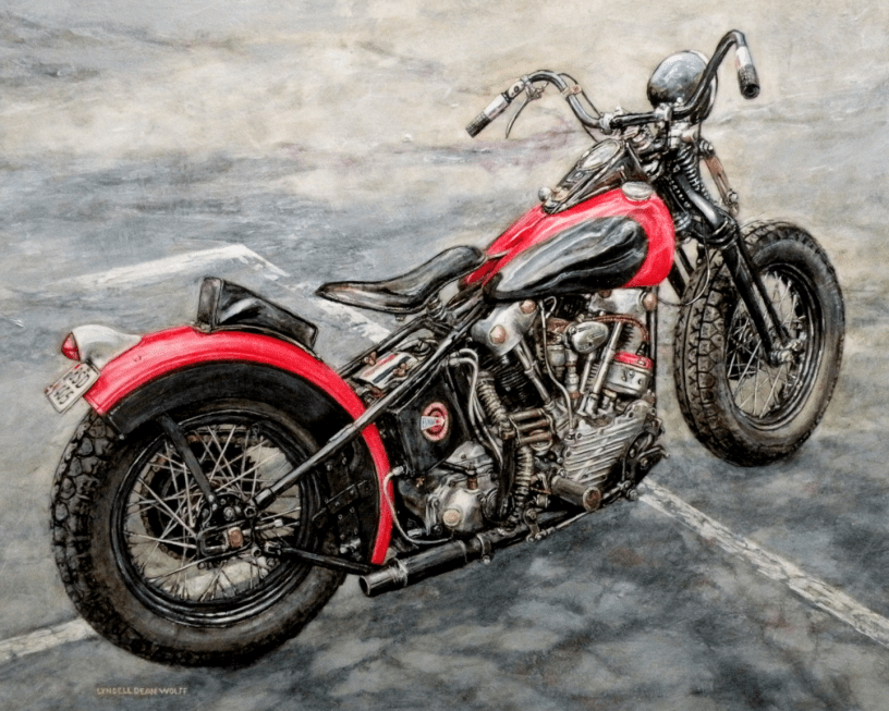 Acrylic on panel original painting titled 1947 FL Knucklehead, Wabi-Sabi 12 by Lyndell Dean Wolff