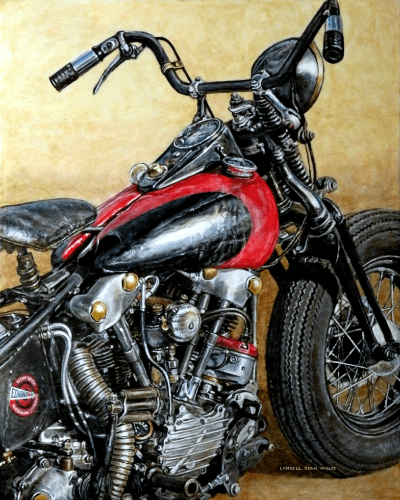 Acrylic on panel original painting titled 1947 FL Knucklehead, Wabi-Sabi 10 by Lyndell Dean Wolff
