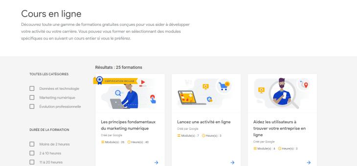 Ateliers numériques Google
