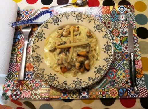 Les spaghettis aux moules et au raifort