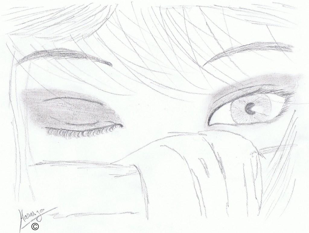Dessin crayon oeil humain