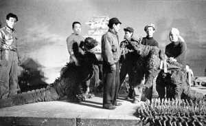 Godzilla on the set