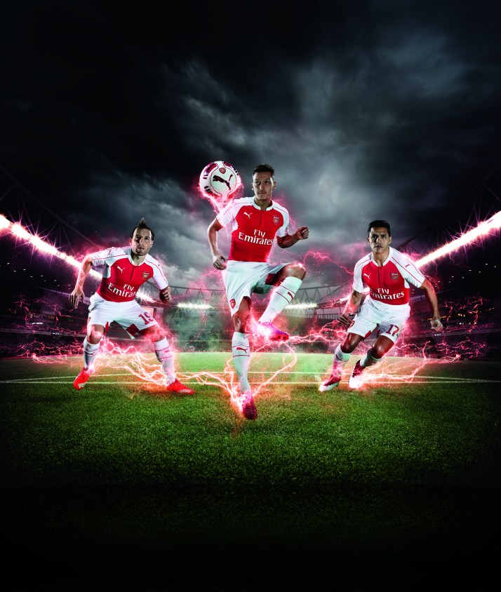 PUMA Launches the 2015-16 Arsenal Home Kit_Cazorla_Ozil_Sanchez_1