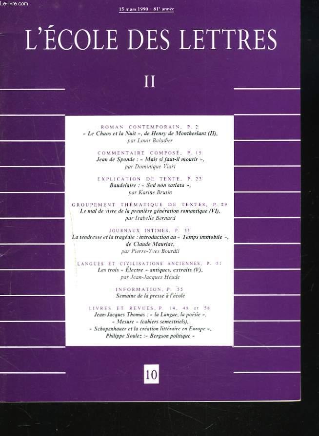 Mais Si Faut Il Mourir : mourir, ECOLE, LETTRES,, SECOND, CYCLE,, N°10,, 1990., SPONDE, FAUT-IL, MOURIR, VIART, VIVRE, PREMIERE, GENERATION, ROMANTIQUE