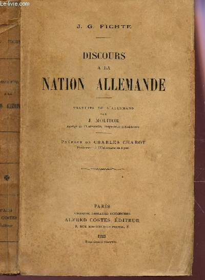 Discours à La Nation Allemande : discours, nation, allemande, DISCOURS, NATION, ALLEMANDE, FICHTE, Achat, Livres, R320056252, Le-livre.fr