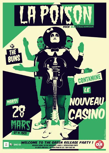 La Poison - Affiche concert Nouveau Casino 28 mars 2017