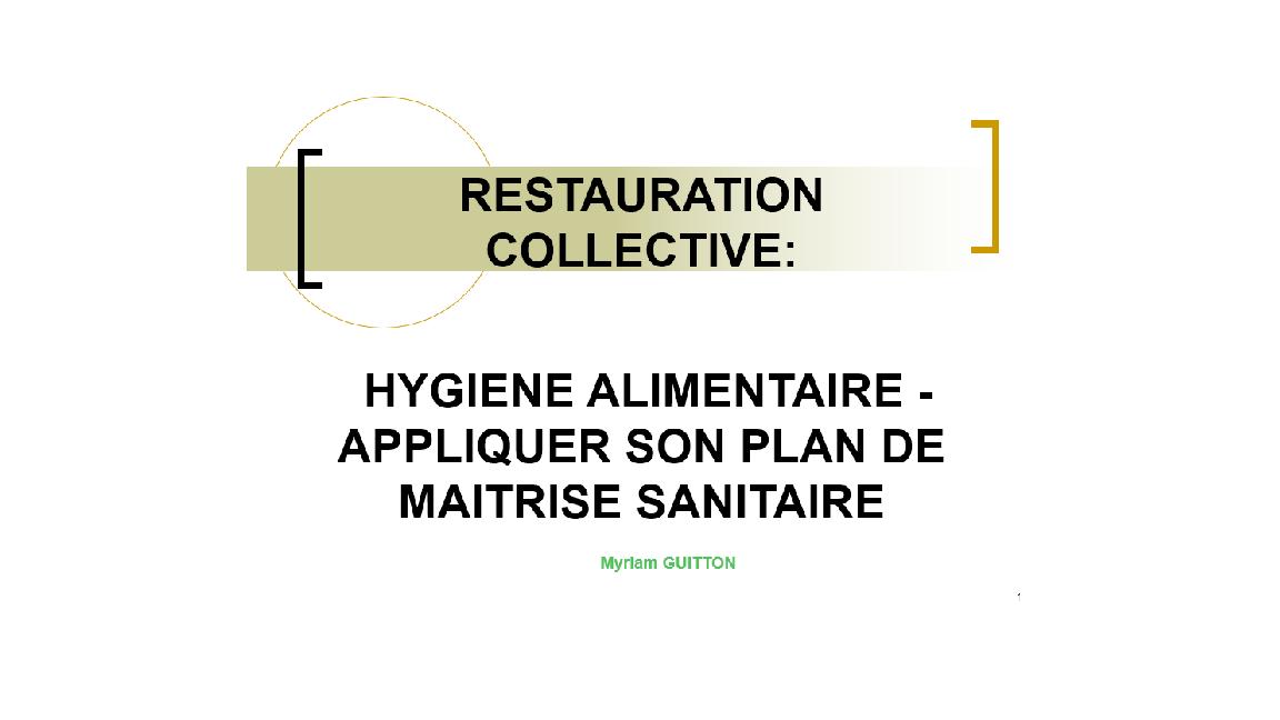 Formation haccp pms en restauration collective le for Formation restauration collective
