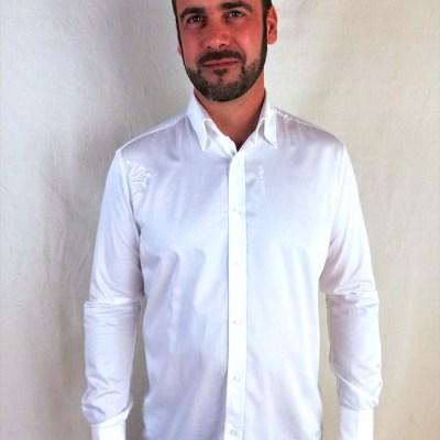"""Modèle Chemise blanche """"le polo occitan"""" avec broderie croix occitane"""