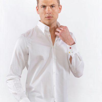 """Chemise blanche """"le polo occitan"""" avec croix occitane brodée"""