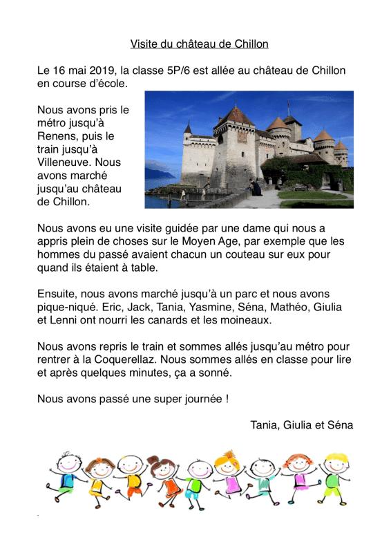 Course d'école au château de Chillon