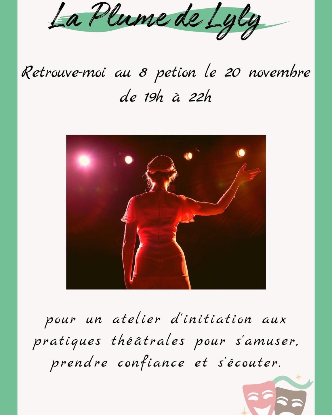 un atelier alliant outils du théâtre et confiance en soi au 8 Petion à Paris 11