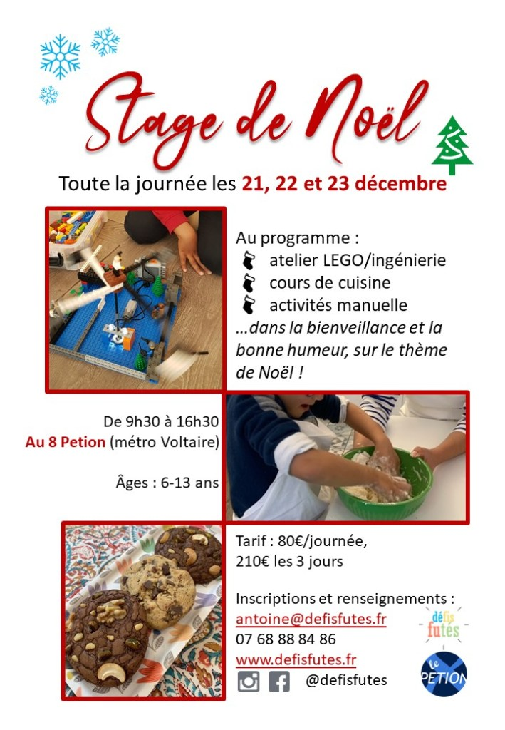 stage enfants à Noël au 8petion Paris 11 avec Défis futés