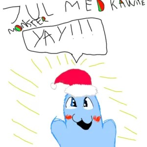 en jul med et kawiie-monster