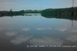 A leachate lagoon