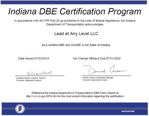 certificate recognizing Lead at Any Level LLC as a DBE and ACDBE in the State of Indiana