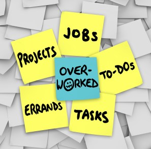 Overworked word sticky note projects errands tasks jobs to-do li