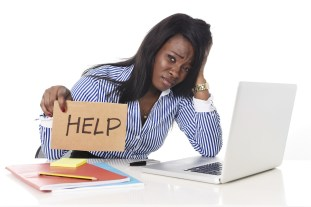 Stressed woman manager
