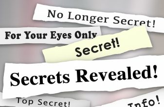 Secrets Revealed words on newspaper headlines to illustrate a co