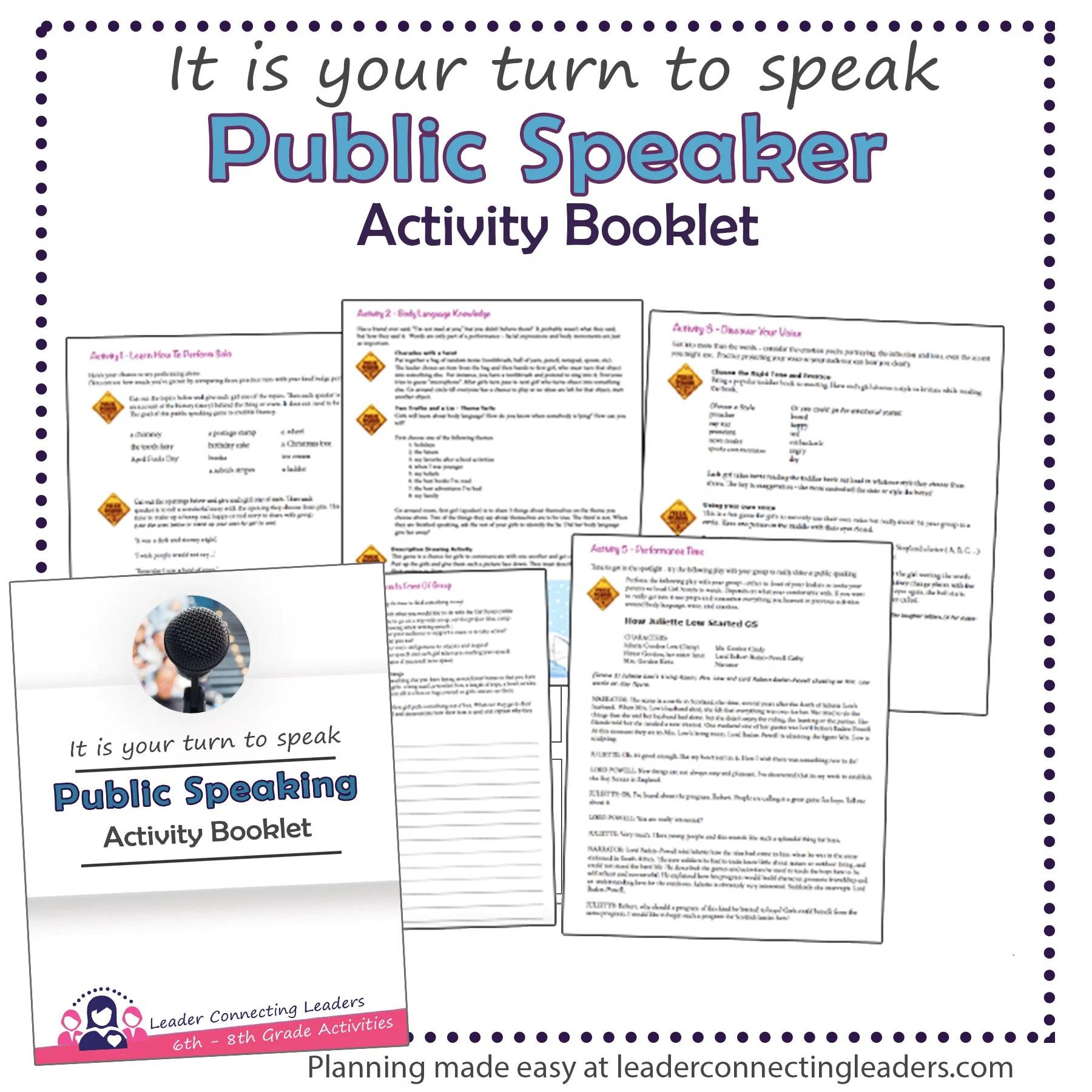 Public Speaker Activity Booklet