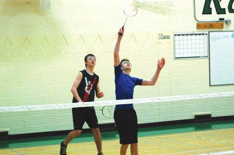 Davidson's Clay Murfitt (left) and Derek Schmiedge compete in a doubles match against Kenaston's Cole Sanderson and Jackson Firby on Thursday.