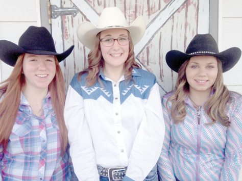 Pictured above are the three contestants in the Lakeshore Stampede's rodeo queen contest. Seen from left are Nicole Pyette, Jade Esmond and Deanna Watson.