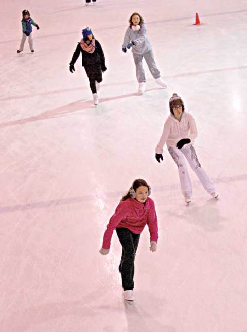 Members of the Line 19 Figure Skating Club — clockwise from top left, Emma Griffin, Jordyn Dorward, Bobbi Jo Snustead, Brooklyn Lemcke and Madison Snustead — skate around the Loreburn Arena on Thursday during a club fundraiser.