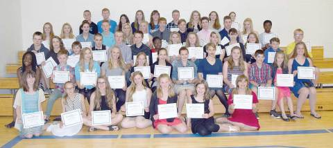 Pictured are the award winners from Wednesday's ceremony at Davidson School.