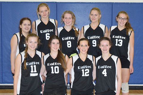 The Davidson/Loreburn RaiTec poses with their award after winning the consolation prize at their home tournament in Davidson on Oct. 1. Pictured are (back row from left) Nevada Wightman, Lauren Bueckert, Elena Nykiforuk, Jocelyn Millham, Chase Lyn Dean; (front row) Tori Rendall, Gracie Allan, Lynzey Sanden and Brianna Jess.