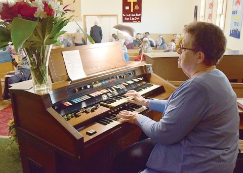 Organist Ruth Rendall plays a piece from memory at the close of Loreburn United Church's final service on Nov. 6.