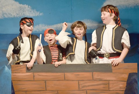 "A group of four pirates — Tyce Farden, Jaxon Wightman, Finn Low and Reece Johnson — sets sail during the elementary drama club play ""The Little Mermaid,"" presented at Davidson School on Nov. 25."