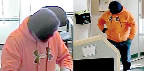 A suspect in a March 10 robbery at a financial institution in Holdfast is depicted in security camera images provided by police.