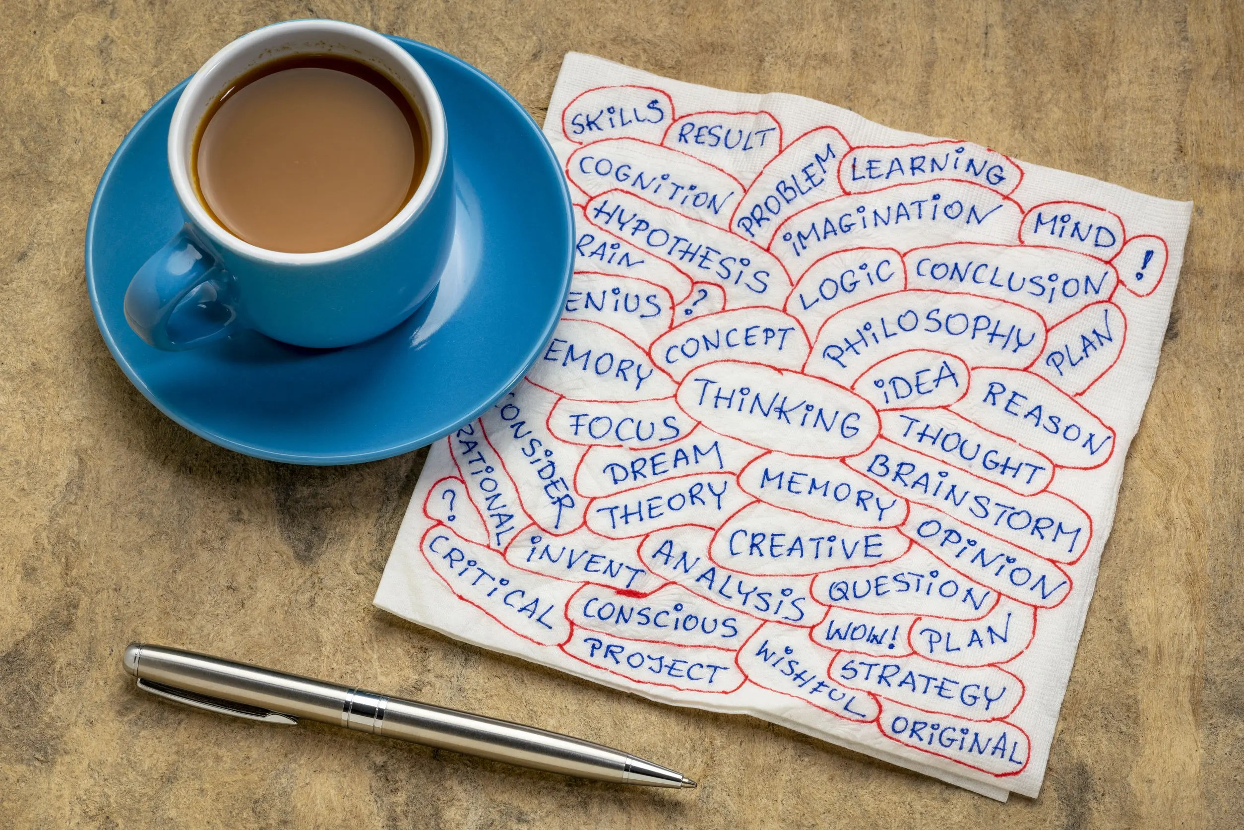 thinking word cloud  on napkin with coffee