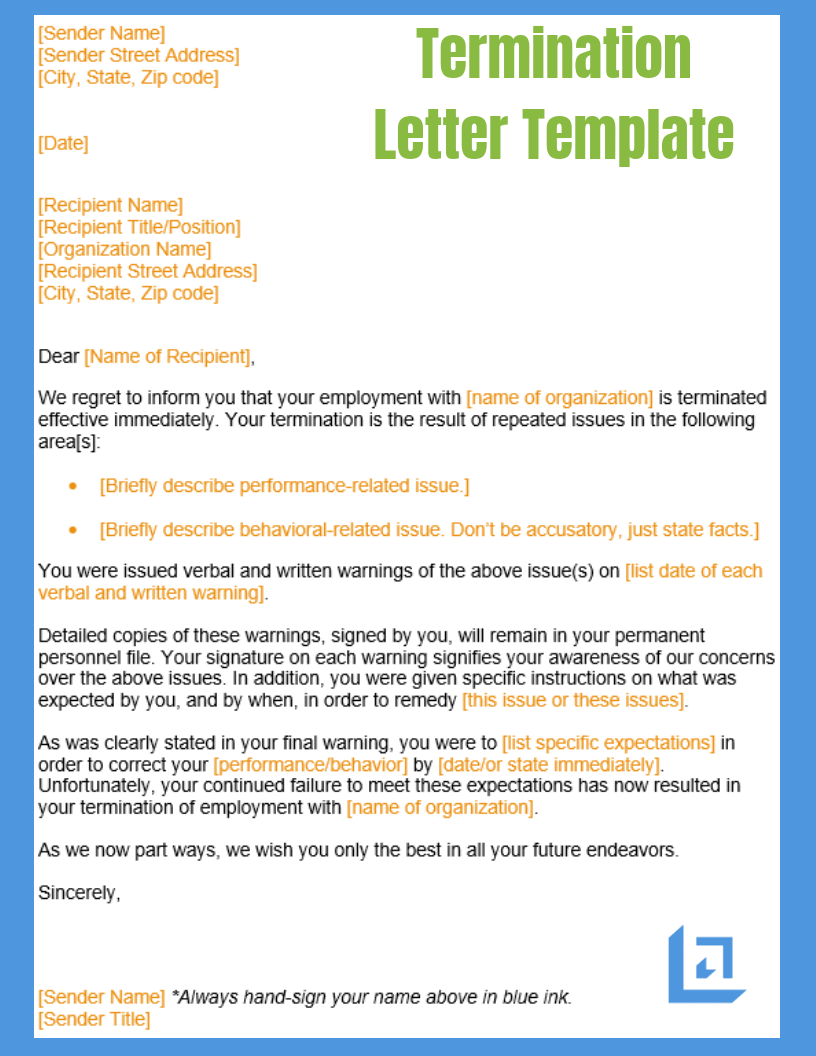 Generic Termination Letter Termination Letter Template Free Business Writing Templates