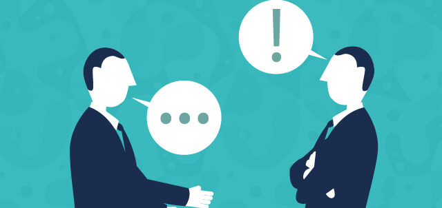Cartoon illustration of two people talking. One has a word bubble with ellipses (...) and the other has a word bubble with an exclamation point (!).  Image for first time supervisors blog