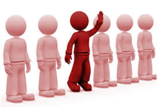 A line of faceless people with their hands at their side, with one in the middle raising his hand.