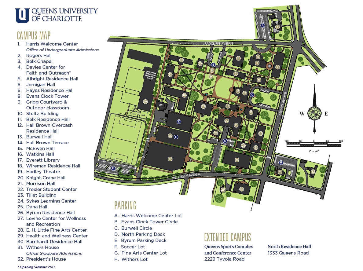 queens university of charlotte campus map Queens University Parking Map Leadership Charlotte queens university of charlotte campus map