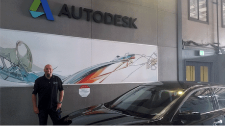 Larry Fultz, Owner of Leading Edge Industrial, outside of Autodesk Headquarters in San Francisco, CA.