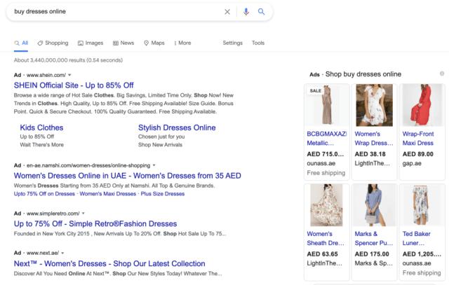annonces google shopping en ligne dubai emirats Arabes Unis
