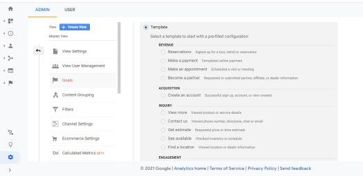 how to use google analytics to create a goal