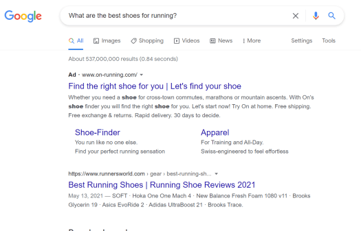 informational search query during the awareness stage