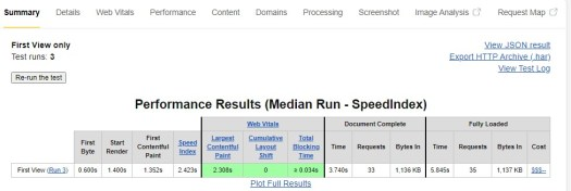 how to calculate the average speed index with webpagetest