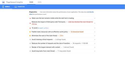 pagespeed report of a mobile website