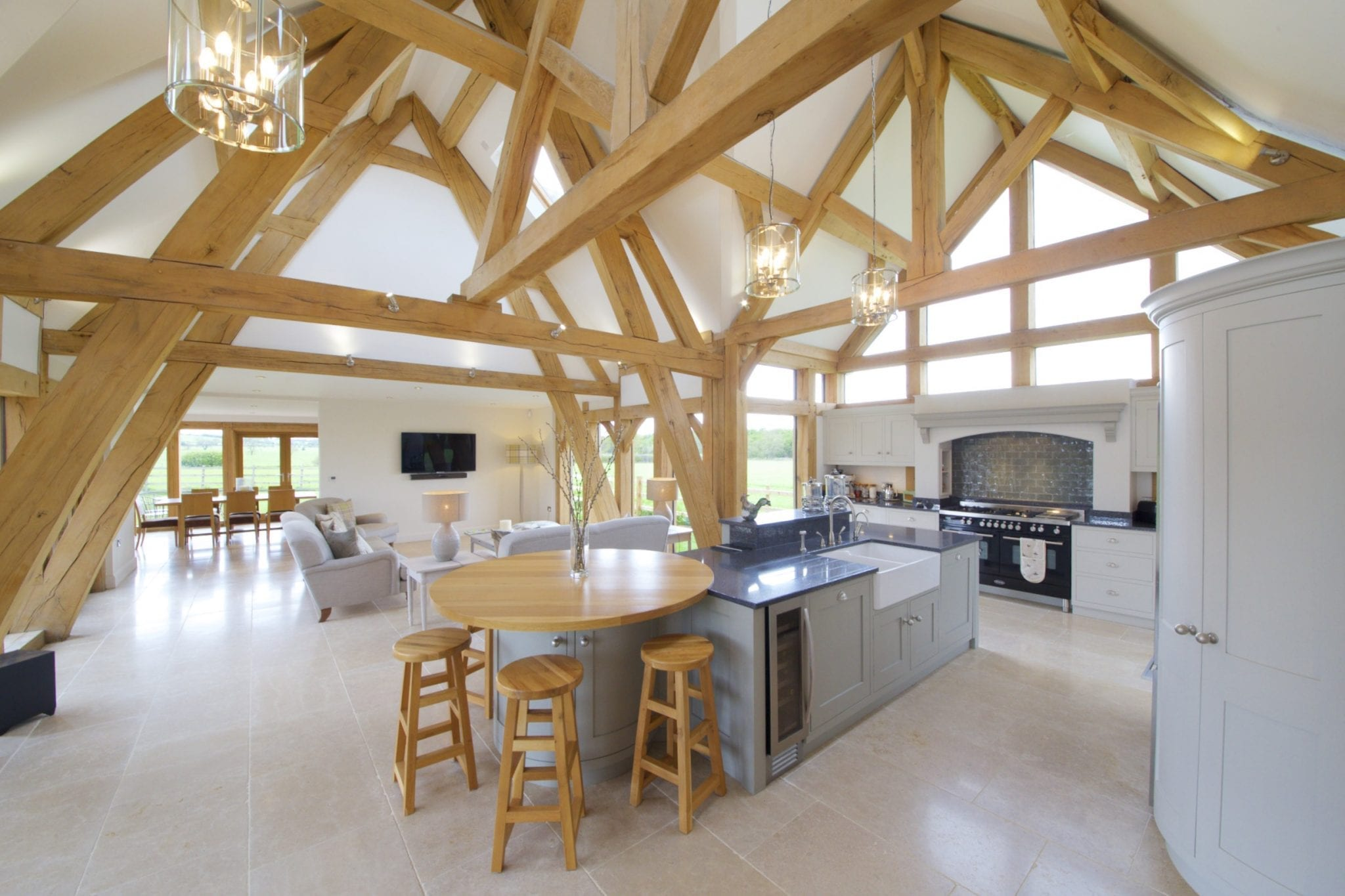 built in kitchen seating tables round oak framed kitchen, dining and garden room extension to ...