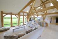 Oak framed kitchen, dining and garden room extension to
