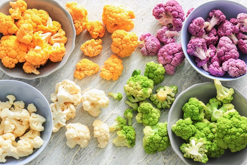 Multi-colored cauliflower florets