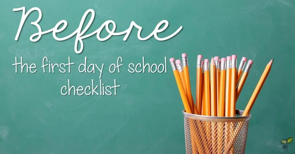 Before the First Day of School Checklist