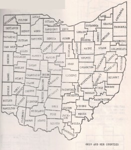 A Map of Ohio and Her Counties - abt 1981